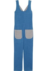 Solid And Striped Cotton Chambray Jumpsuit Blue