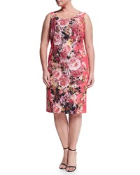 Marina Rinaldi Dolcetto Floral Print Sheath Dress W Sleeves Women's Coral