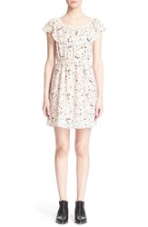 Women's The Kooples Tattoo Print Off The Shoulder Dress Pink Multi