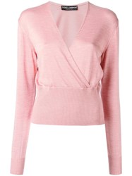 Dolce And Gabbana Wrap Jumper Pink Purple