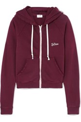 Re Done Embroidered Stretch Cotton Terry Hoodie Burgundy
