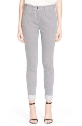 Women's St. John Collection 'Bardot' Ticking Stripe Capri Jeans