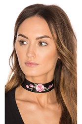 Child Of Wild Rose Leather Choker Black