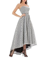 Js Collections Strapless Floral Hi Lo Ballgown Black White