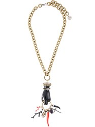 Lanvin Long Hand Pendant Necklace Black