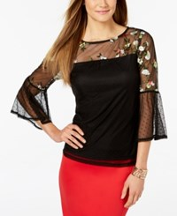 Thalia Sodi Embroidered Lace Top Created For Macy's Deep Black