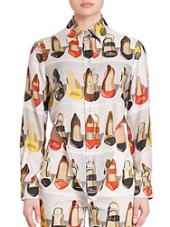 Moschino Crop Back Shoe Print Blouse Multicolor