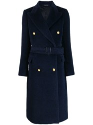 Tagliatore Belted Double Breasted Coat Blue
