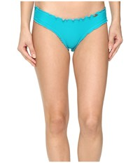 Luli Fama Cosita Buena Wavey Brazilian Ruched Bottom Exuma Women's Swimwear Blue