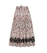 Tomas Maier Printed Cotton Skirt With Applique White