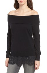 Chelsea 28 Women's Chelsea28 Lace Off The Shoulder Sweater Black Combo