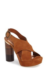 Ted Baker Women's London Kamilla Statement Heel Sandal Tan Suede