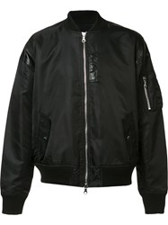 Mostly Heard Rarely Seen Leather Detailing Bomber Jacket Black