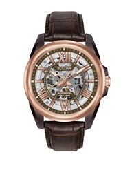 Bulova 98A165 Automatic Stainless Steel Leather Band Watch Dark Brown