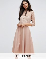 Y.A.S Tall Pretty Skater Dress With Lace Yoke And 3 4 Sleeves Rose Pink