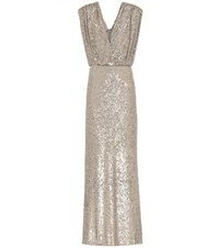 Monique Lhuillier Sequined Gown Gold
