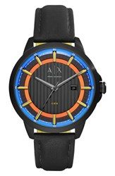 Armani Exchange Men's Ax Leather Strap Watch 44Mm
