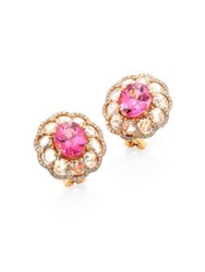 Ivy Rose Cut Diamond And Pink Spinel Stud Earrings