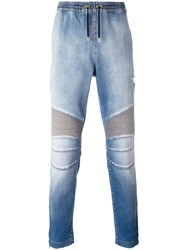 Balmain Denim Biker Track Pants Blue