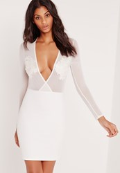 Missguided Plunge Mesh Top Embroidered Bodycon Dress White White