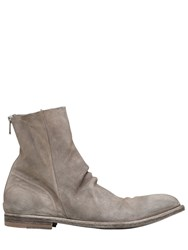 Officine Creative Washed Deerskin Leather Cropped Boots Grey