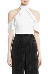 Alice Olivia Women's Cabot Ruffle Cold Shoulder Crop Top