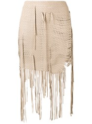 Magda Butrym Woven Fringe Mini Skirt Women Silk Sheep Skin Shearling 38 Nude Neutrals