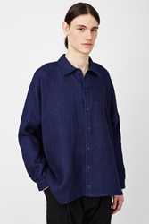 Jan Jan Van Essche Oversized Geometric Long Sleeve Shirt Indigo