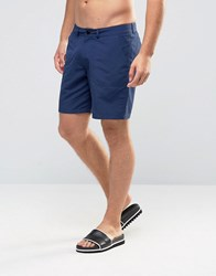 Asos Swim Shorts With Fixed Waistband And Straps In Mid Length Navy
