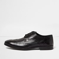 River Island Mens Black Leather Formal Brogues