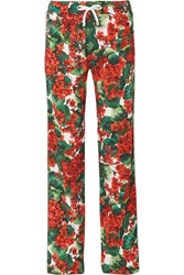 Dolce And Gabbana Intarsia Trimmed Floral Print Cady Track Pants Red