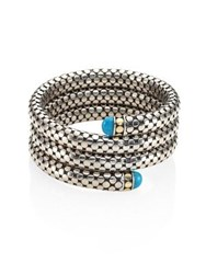 John Hardy Dot Turquoise 18K Yellow Gold And Sterling Silver Triple Coil Bracelet Silver Blue