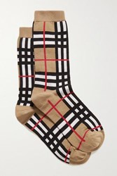 Burberry Checked Cotton Blend Socks Beige