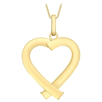 Ibb 9Ct Gold Triangular Tube Heart Pendant Gold