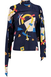 J.W.Anderson Cape Effect Printed Satin Jersey Top Blue