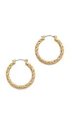Giles And Brother Encrusted Twist Hoop Earrings Gold Clear