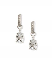 Jude Frances Tiny Crisscross Wrapped White Topaz Earring Charms With Diamonds