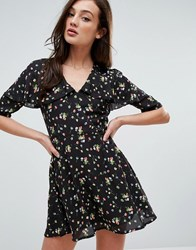 Fashion Union Plunge Front Dress In Ditsy Floral Black