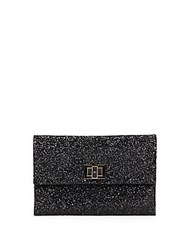 Anya Hindmarch Valorie Sparkling Leather Clutch Black