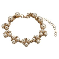 John Lewis Faux Pearl And Cubic Zirconia Cluster Bracelet Gold