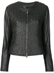 Emporio Armani Fitted Leather Jacket Black