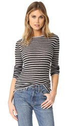 Vince Striped Rib Crew Neck Sweater H Steel H Carbon