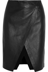 Theory Derion Wrap Effect Leather And Stretch Jersey Skirt Black