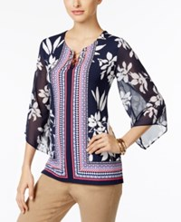 Jm Collection Petite Toggle Printed Tunic Only At Macy's Macao Mix