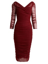 Dolce And Gabbana Long Sleeved Ruched Tulle Dress Red