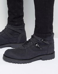 Asos Lace Up Boot With Straps And Chunky Sole In Black Suede Black