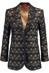Missoni Belted Metallic Crochet Knit Jacket Black