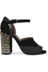 Marni Embellished Suede And Leather Sandals Black