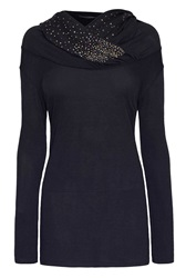 James Lakeland Sequin Hooded Top Black