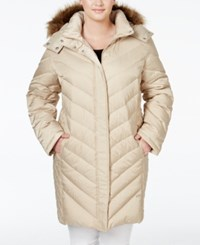 Kenneth Cole Plus Size Faux Fur Trim Chevron Quilted Down Puffer Coat Champagne